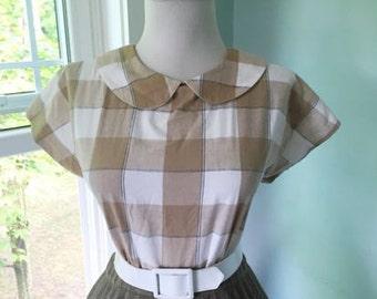 Vintage Cotton Tan & White Plaid 1950s 1960s Rockabilly Button Down Blouse