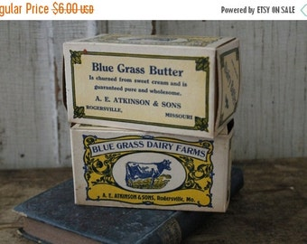 SHOP SALE Vintage Blue and Yellow Advertising Dairy Cow Paper Butter Boxes