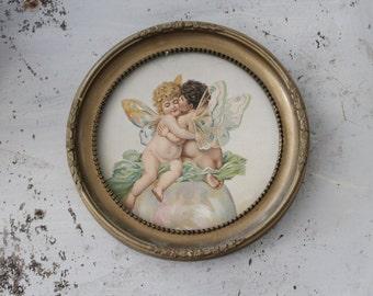 Vintage Cherub Print in Gold Frame