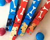 DOG CLOTHESPINS blue and red hand painted magnets black lab yellow lab irish setter golden retreiver