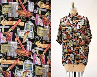 Vintage Nicole Miller Silk Shirt Size Medium 90s Banker Accountant Finance Wall Street Stock Exchange Print Mens silk Shirt