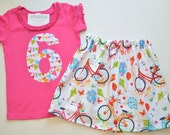 Girls 6th Birthday Outfit, Applique Number 6 Shirt, Bicycles Park Pennant Flag, Colorful Top Skirt Set, Balloons, Hearts Bike, Ready to Ship