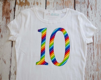 Girls 10th Birthday Shirt, Number Ten Applique Tshirt, Rainbow Stripe, Tenth Birthday Tee, I am 10, White Short Sleeve Top, Ready to Ship