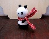 Panda Bear Kokeshi Doll, Wooden Doll, Small Handmade Collectible Figurine, Hand Painted Panda Bear Toy Art Doll