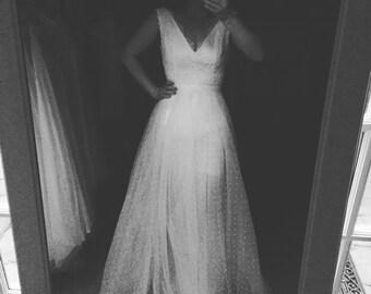 Meredith Swiss Dot tulle Wedding Dress