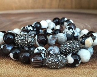 Brown agate and pave stackable bracelets