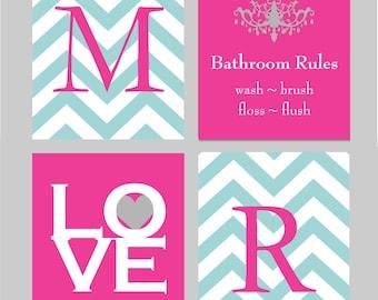 Kids Bathroom Wall Art Home Decor Prints Girls Bathroom Art Chevron Monogram Prints - Set of four 8x10s You Choose Colors