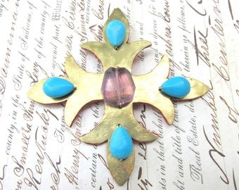 Maltese Cross Brooch Pin VINTAGE Artisan Brass with Amethyst and Turquoise STATEMENT Jewelry