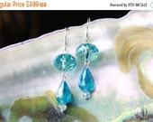 Christmas in July Sterling Silver 925 Baby Blue Tear Drop and Rondelle Crystal Earrings Aqua Color