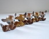 Vintage Plastic Deer Reindeer Figurines, Micro Mini Plastic Deer, Miniature Glitter Putz Holiday Village Craft Supplies