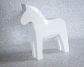 White Washed Wood Dala Horse Figurine /  Customizable Swedish Horse Figurine  /  Wooden Horse for Jewelry or Photo Prop, Crafts or Decor