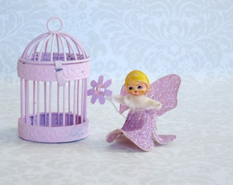 Pink Glitter Angel  /  Candy Container w Pink Angel  /  Vintage Glittered Angel and Birdcage  /  Bird Cage Candy Holder