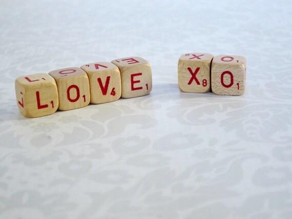 Love XO Wood Sign Wooden Scrabble Letter Cubes Letter
