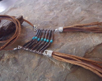 Native AMERICAN FESTIVAL Collar necklace LEATHER with breastplate (1144)