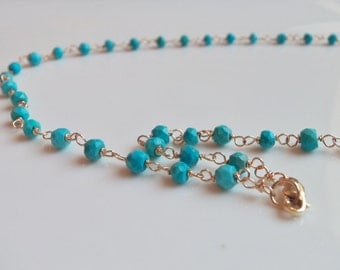 Sleeping Beauty Turquoise Beaded Handmade Necklace Wire Wrapped with Gold Fill