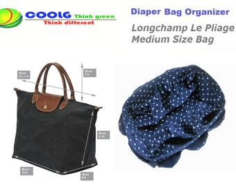 Diaper Bag organizer Insert For Longchamp Le Pliage Medium Bag / Blue Polka Dots / Made to order+ FREE Pacifier Holder