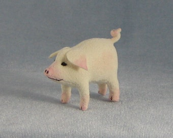 White Pig Soft Sculpture Miniature by Marie W. Evans