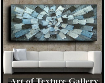 72 x 30 Huge Custom Original Abstract Heavy Impasto Texture Gray Silver Blue Brown Metallic Oil Painting by Je Hlobik
