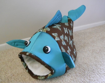 Fish Shaped Pet Bed Butterflies with a Greenish Teal Head Fabric