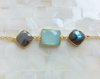 Step-Cut Faceted Peru Chalcedony and Labradorite Vermeil Bezel Connectors on Gold Chain Bracelet (B1222)