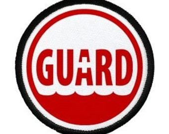 Rescue Ocean Swimming Pool LIFEGUARD Safety Black Rim Sew-on Patch (Choose Size)