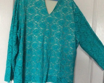 Sale!Longslv lace blouse 3X lined/green/by dialogue