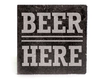 Coasters Set of 4 - black granite laser - 9955 Beer Here