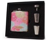 Flask for women // Floral Design flask gift set