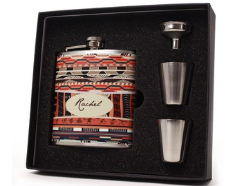 Personalized Aztec Design Flask Gift Set