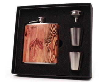 Custom Faux Wood Flask Gift Set // 6oz Size with Shot Cups, Funnel and Gift Box