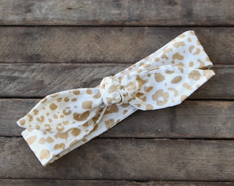 Gold Cougar Animal Print on White with Gold Metallic thread trim Skinny Headband Gold Metallic Teen Women Hair Accessory