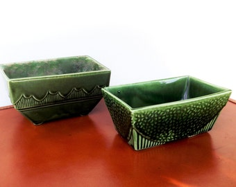 USA Hull Planter Vase, Art Deco Pottery Set, 2 Hunter Green Vintage Ceramic Glass Planter Pots, Rectangle Pot, USA 75, USA 611