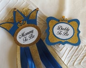 SALE - Mommy to Be Set, Prince, Royal Blue, Gold, Corsage Pin, Baby Shower, Daddy to be