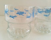 Beechcraft Airplane Highball Cocktail Drinking Glasses - set of 5