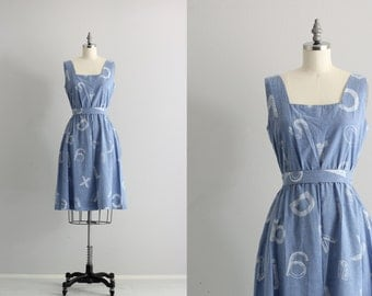 Vintage Alphabet Print Day Dress . 50s Cotton Dress with Pockets