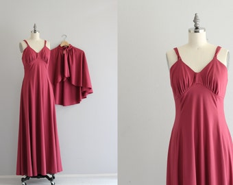 Raspberry Maxi Dress and Cape . 2 Piece Dress Set . 70s Boho Dress