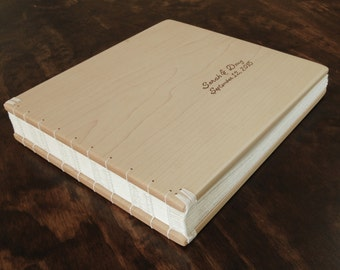 wood guest book -maple - custom wedding or cabin guestbook rustic alternative wedding memorial book vacation home book - made to order