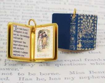 Miniature Book Charm Quote Pendant - Pride and Prejudice by Jane Austen - for charm bracelet or necklace. Custom available!
