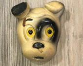 Vintage Chalkware Bulldog Terrier Wall Plaque- vintage dog statue, dog figurine, dog face, chalkware wall decor, 1950s dog
