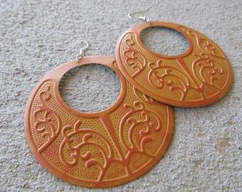 LARGE Orange Earrings- BOLD earrings-