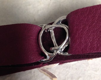 Sterling Silver Buckle Clasp - Large Hook and Eye for Multi Strands or Wide Leather - shown 2cm Leather Lace AP38