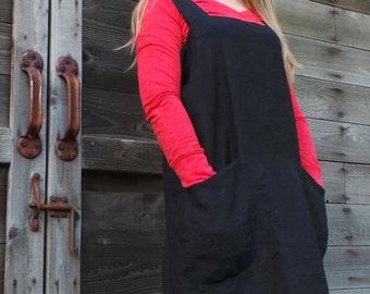 Linen Pinafore Apron, Black