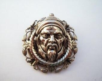 Face brooch, scary face brooch, silver tone brooch