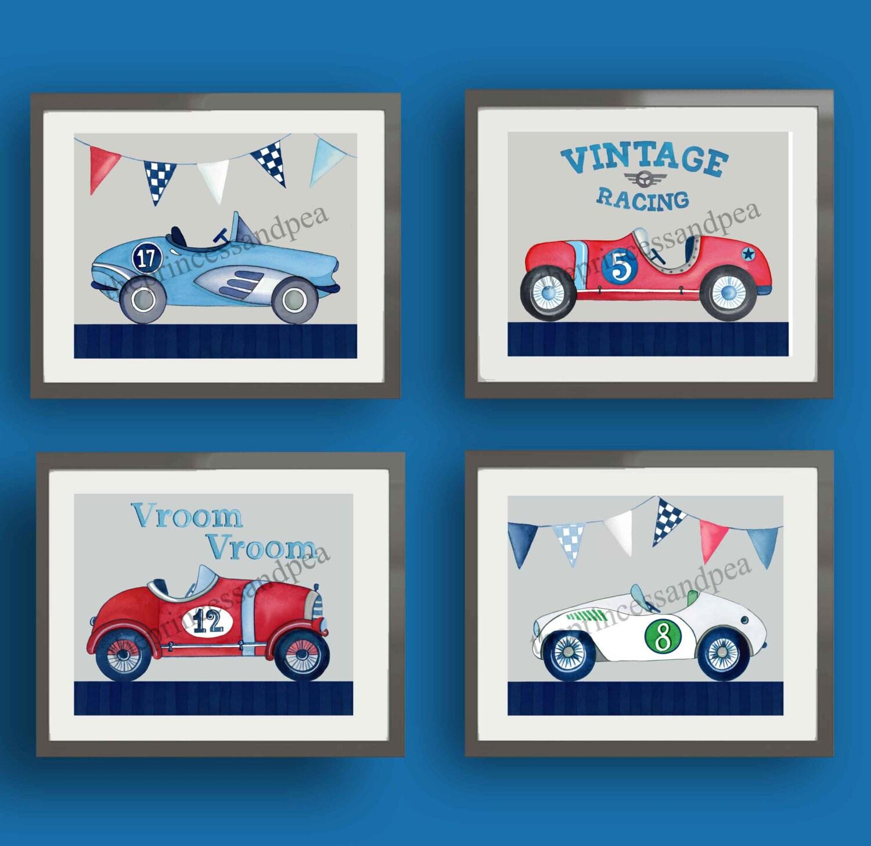 vintage race car art race cars nursery art race car wall art. Black Bedroom Furniture Sets. Home Design Ideas