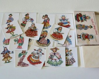 Vintage 18 Dolls Correspondence Notes, Dolls of Many Lands,Stationary Note Card