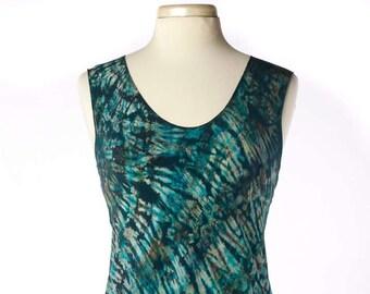 S/M Silk Charmeuse Shibori Bias Tunic Tank Top Jade Green-Blue Size Small/Medium