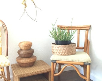 woven wicker basket bowl planter
