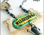She was a Wildflower Clay and Fiber Pendant