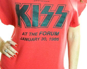 Vintage KISS shirt 80s tee Concert Shirt 1983 LA Forum 80s shirt Band tee Slayer Iron Maiden Boho Hippie Rocker Punk Rock n Roll California