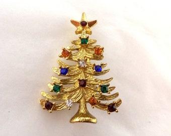 Rhinestone Christmas Tree Brooch Multiple Colors Unsigned
